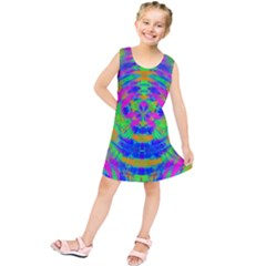 Boho Hippie Retro Psychedlic Neon Rainbow Kids  Tunic Dress