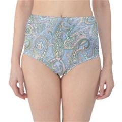 Paisley Boho Hippie Retro Fashion Print Pattern  High-Waist Bikini Bottoms