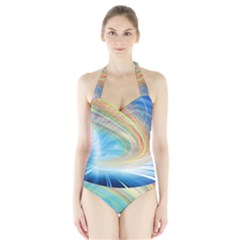Glow Motion Lines Light Halter Swimsuit