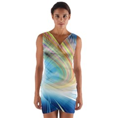 Glow Motion Lines Light Wrap Front Bodycon Dress