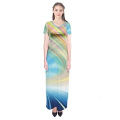 Glow Motion Lines Light Short Sleeve Maxi Dress