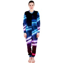 Illustrations Color Purple Blue Circle Space OnePiece Jumpsuit (Ladies)