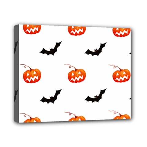 Halloween Seamless Pumpkin Bat Orange Black Sinister Canvas 10  x 8