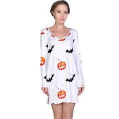 Halloween Seamless Pumpkin Bat Orange Black Sinister Long Sleeve Nightdress