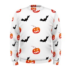 Halloween Seamless Pumpkin Bat Orange Black Sinister Men s Sweatshirt