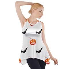 Halloween Seamless Pumpkin Bat Orange Black Sinister Side Drop Tank Tunic