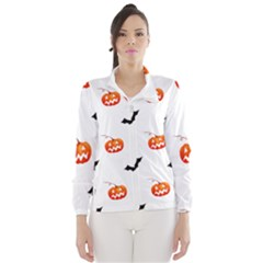 Halloween Seamless Pumpkin Bat Orange Black Sinister Wind Breaker (Women)