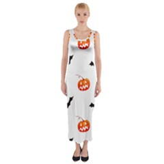 Halloween Seamless Pumpkin Bat Orange Black Sinister Fitted Maxi Dress