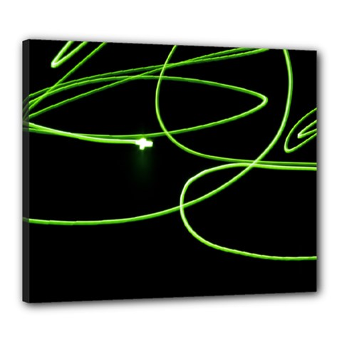 Light Line Green Black Canvas 24  x 20