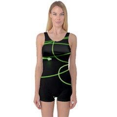 Light Line Green Black One Piece Boyleg Swimsuit