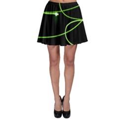 Light Line Green Black Skater Skirt