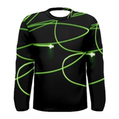 Light Line Green Black Men s Long Sleeve Tee
