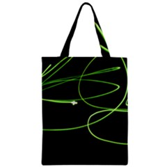 Light Line Green Black Zipper Classic Tote Bag