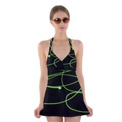 Light Line Green Black Halter Swimsuit Dress