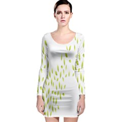 Leaves Leaf Green Fly Landing Long Sleeve Bodycon Dress