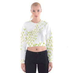 Leaves Leaf Green Fly Landing Women s Cropped Sweatshirt