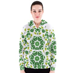 Leaf Green Frame Star Women s Zipper Hoodie