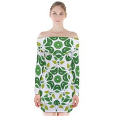 Leaf Green Frame Star Long Sleeve Off Shoulder Dress