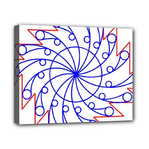 Line  Red Blue Circle Canvas 10  x 8