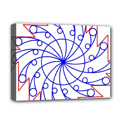 Line  Red Blue Circle Deluxe Canvas 16  x 12