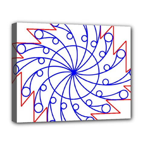 Line  Red Blue Circle Deluxe Canvas 20  x 16