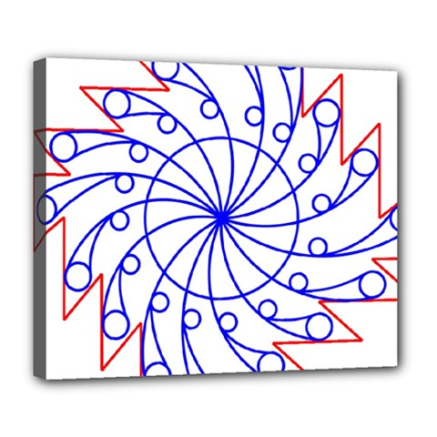 Line  Red Blue Circle Deluxe Canvas 24  x 20