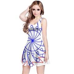 Line  Red Blue Circle Reversible Sleeveless Dress