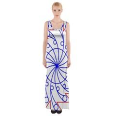 Line  Red Blue Circle Maxi Thigh Split Dress