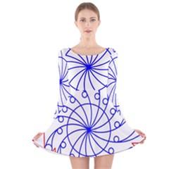 Line  Red Blue Circle Long Sleeve Velvet Skater Dress