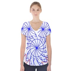 Line  Red Blue Circle Short Sleeve Front Detail Top