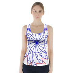 Line  Red Blue Circle Racer Back Sports Top