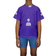 Man Grey Purple Sign Kids  Short Sleeve Swimwear