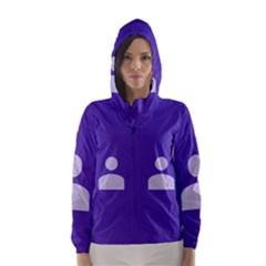 Man Grey Purple Sign Hooded Wind Breaker (Women)