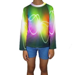 Lines Wavy Ight Color Rainbow Colorful Kids  Long Sleeve Swimwear