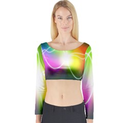 Lines Wavy Ight Color Rainbow Colorful Long Sleeve Crop Top