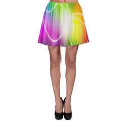 Lines Wavy Ight Color Rainbow Colorful Skater Skirt