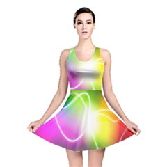 Lines Wavy Ight Color Rainbow Colorful Reversible Skater Dress