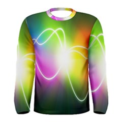 Lines Wavy Ight Color Rainbow Colorful Men s Long Sleeve Tee