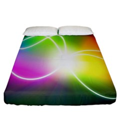 Lines Wavy Ight Color Rainbow Colorful Fitted Sheet (king Size)