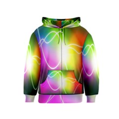 Lines Wavy Ight Color Rainbow Colorful Kids  Zipper Hoodie