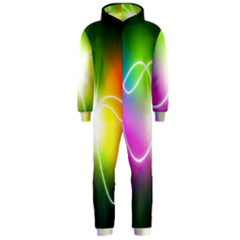 Lines Wavy Ight Color Rainbow Colorful Hooded Jumpsuit (Men)