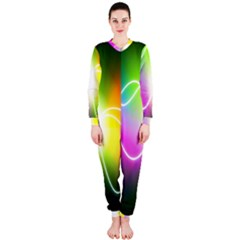 Lines Wavy Ight Color Rainbow Colorful OnePiece Jumpsuit (Ladies)