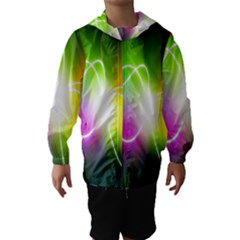Lines Wavy Ight Color Rainbow Colorful Hooded Wind Breaker (Kids)