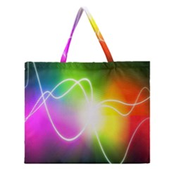 Lines Wavy Ight Color Rainbow Colorful Zipper Large Tote Bag