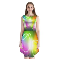 Lines Wavy Ight Color Rainbow Colorful Sleeveless Chiffon Dress