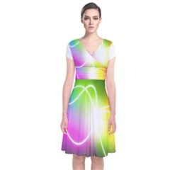 Lines Wavy Ight Color Rainbow Colorful Short Sleeve Front Wrap Dress