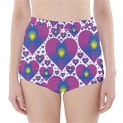 Heart Love Valentine Purple Gold High-Waisted Bikini Bottoms
