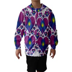 Heart Love Valentine Purple Gold Hooded Wind Breaker (Kids)