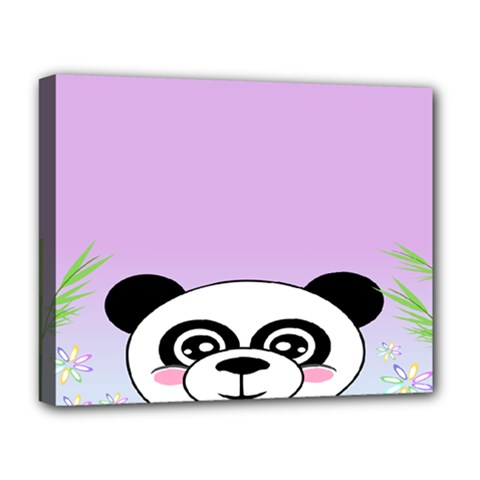 Panda Happy Birthday Pink Face Smile Animals Flower Purple Green Deluxe Canvas 20  x 16