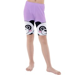 Panda Happy Birthday Pink Face Smile Animals Flower Purple Green Kids  Mid Length Swim Shorts